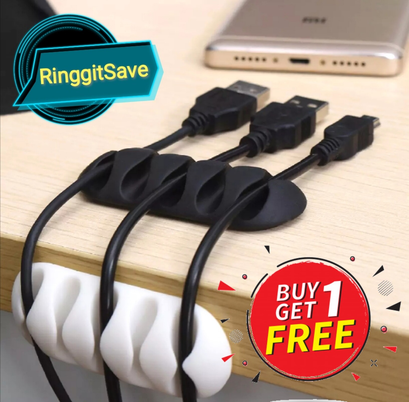 5Clip Cable Organizer Silicone USB Cable Winder (Buy 1 Free 1)