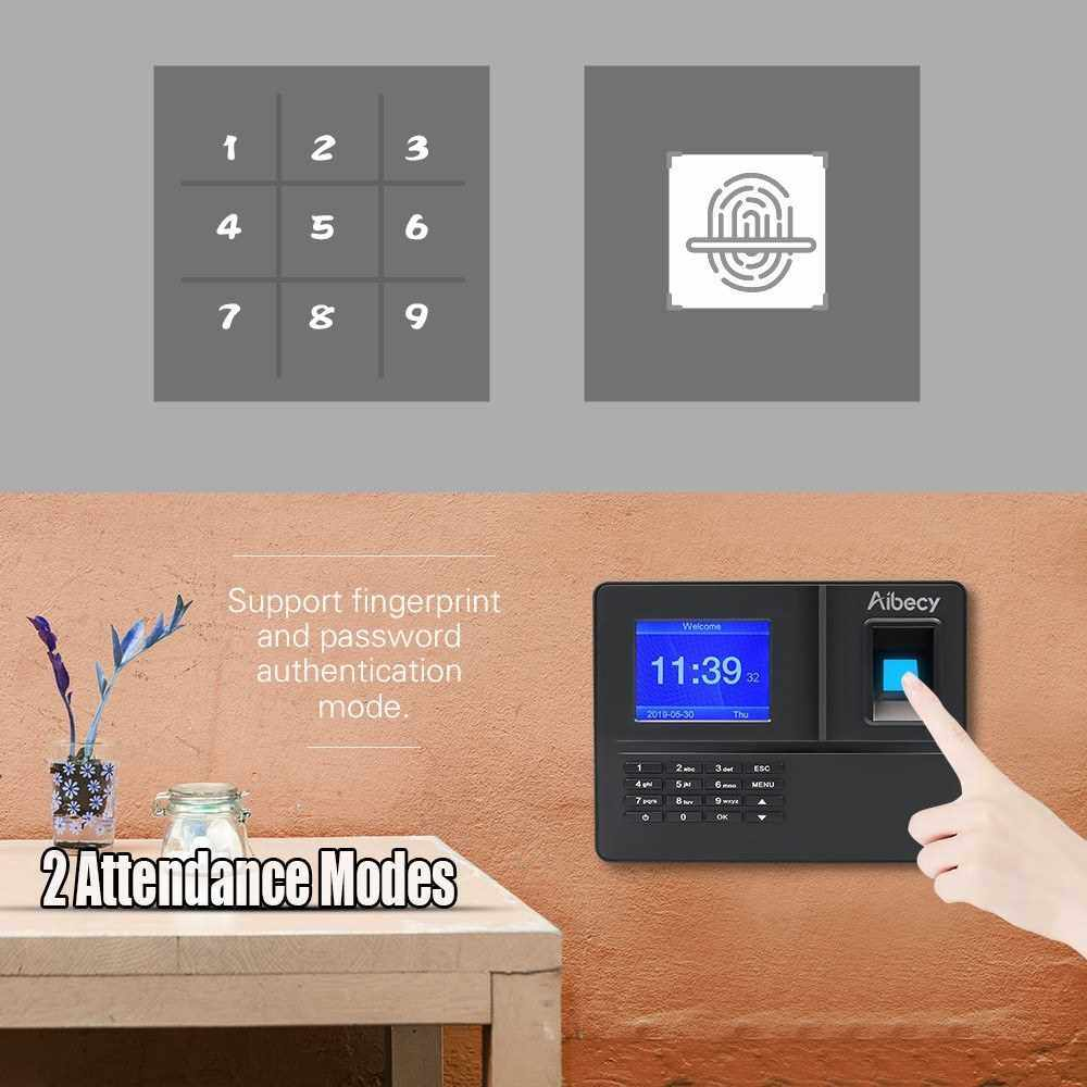 People's Choice Aibecy Intelligent Biometric Fingerprint Time Attendance Machine with 3.2 Inch TFT Display Screen Battery Time Clock Fingerprint Password Employee Checking-in Recorder Reader Support USB Disk Ethernet Access Control Multi-language (Uk2)
