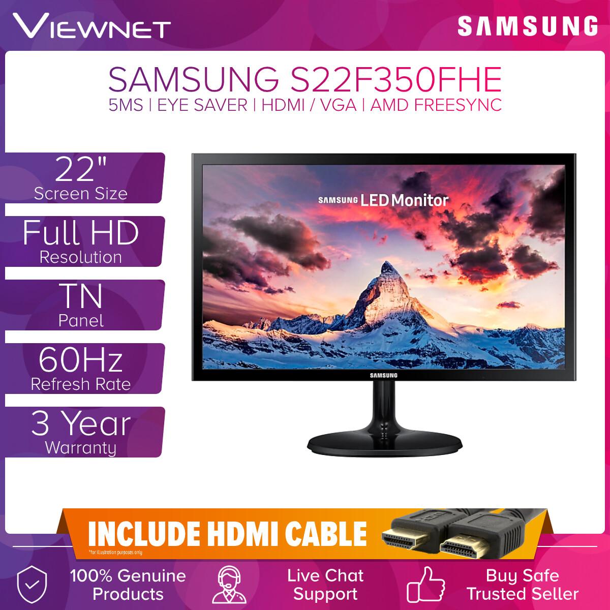 Samsung LED Monitor Full HD S22F350FHE / S24F350FHE / S27F350FHE 22 / 24 / 27 TN 60Hz 5ms SF350 (LS22F350FHEXXM / LS24F350FHEXXM / LS27F350FHEXXM) VGA HDMI Port Slim Depth Design VESA Compatible Game Mode Flicker Free