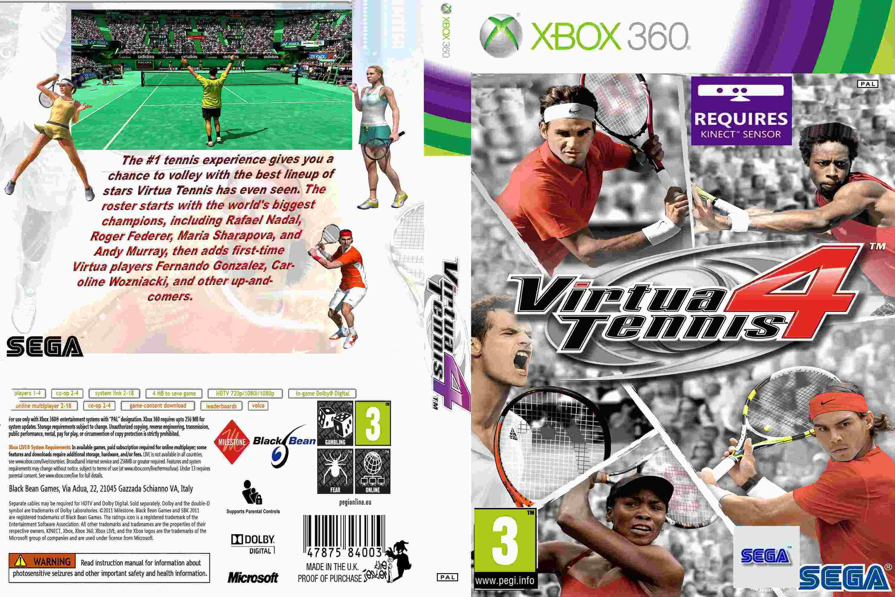 XBOX 360 Kinect Virtua Tennis 4