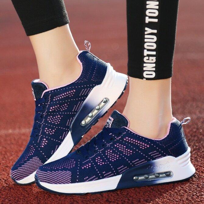 Giày Chạy Nữ Đệm Khí Mới, Giày Thể Thao Quần Vợt, Thoáng Khí Giày Thể Thao Nhẹ Giày Lưới Dệt Thoải Mái giá rẻ