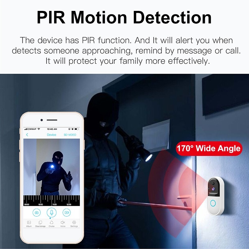 Mobile Cable & Chargers - HD 720P WIFI WIRELESS Video DoorBell With 8GB SD Card PIR Motion Detection-3c