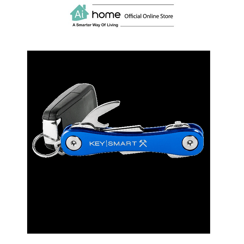 KEYSMART Rugged Compact Key Holder W/Belt Clip & Bottle Opener,Aluminum (Up To 14 Keys) [ Ai Home ] KRBL