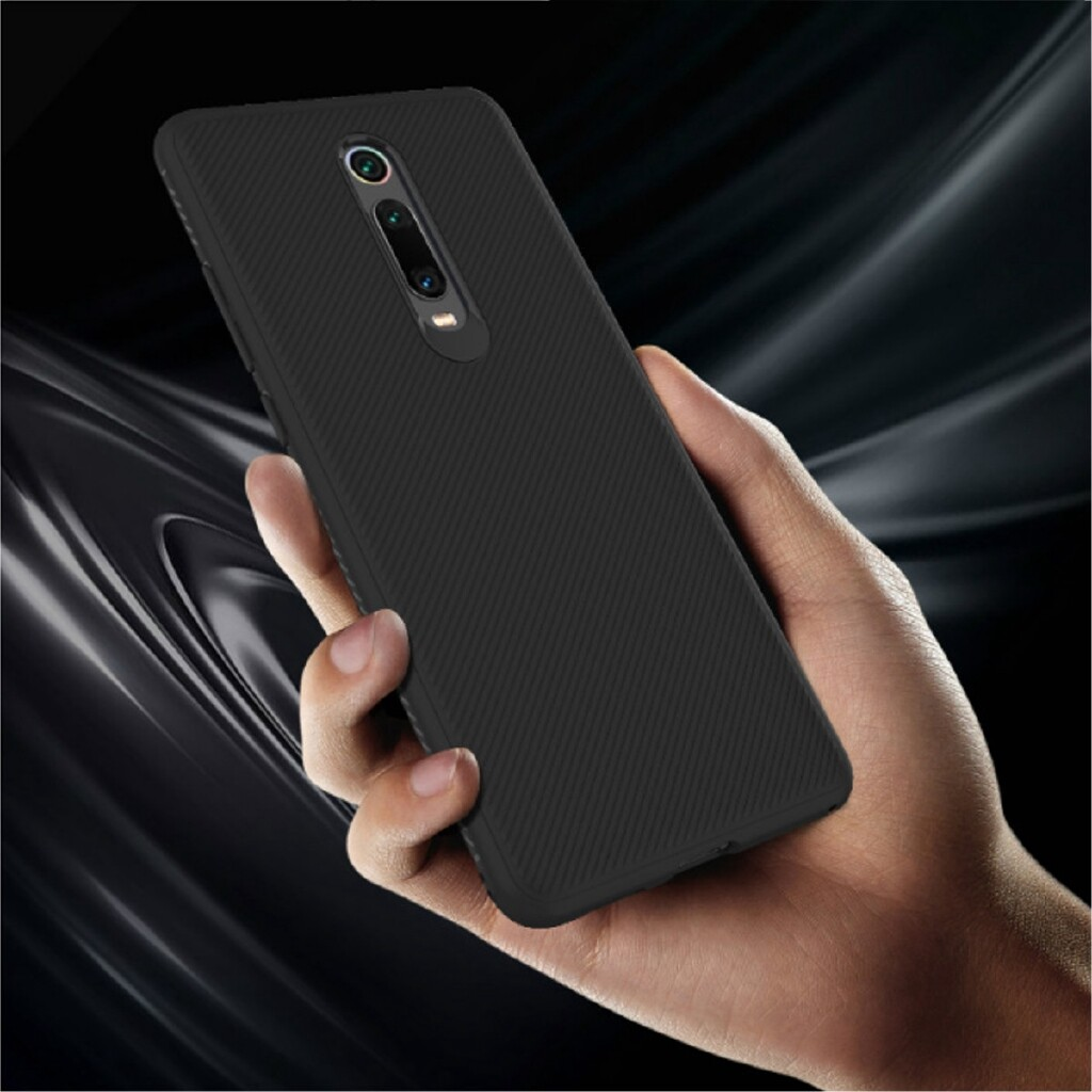 iPh Soft Cover - Carbon Fiber Texture Soft TPU Protective Case for Xiaomi Mi 9T - BLACK / BLUE / RED