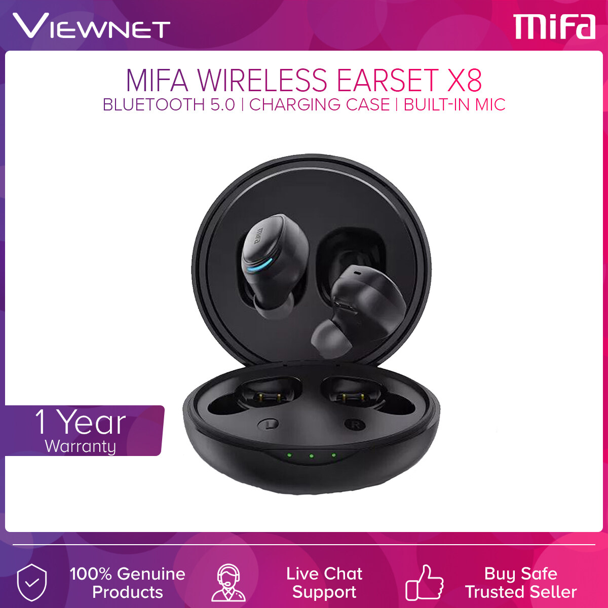 Mifa True Wireless Earset X8 with Bluetooth 5.0, Built-In Mic, Charging Case, Noise Cancelling, Up To 4 Hours Battery Life, 50 Hours Stanby Time