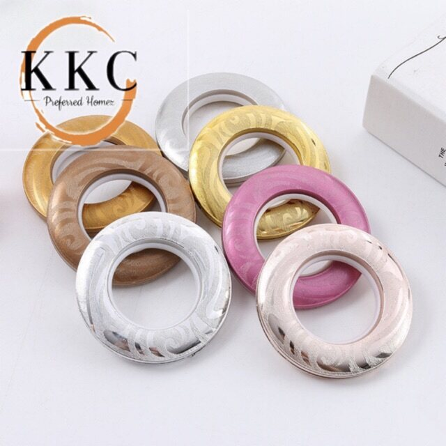 KKC Curtain Eyelet Rings Emboss Design With Nano Silencer Ring (Silver/Gold)