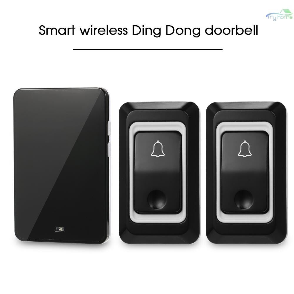 Security & Surveillance - WIRELESS AC Doorbell with Push Button Smart Ding Dong Doorbell 28 Chord Ringtones Optional 3 Levels - BLACK-1 RECEIVER / 1 RECEIVER 2 TRANSMI
