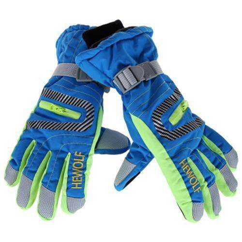 (FREE SHIPPING) PAIRED MEN WOMEN WATERPROOF WINDPROOF THICKEN WARM ANTI-SLIP SKIING MOUNTAINEERING GLOVES (BLUE)