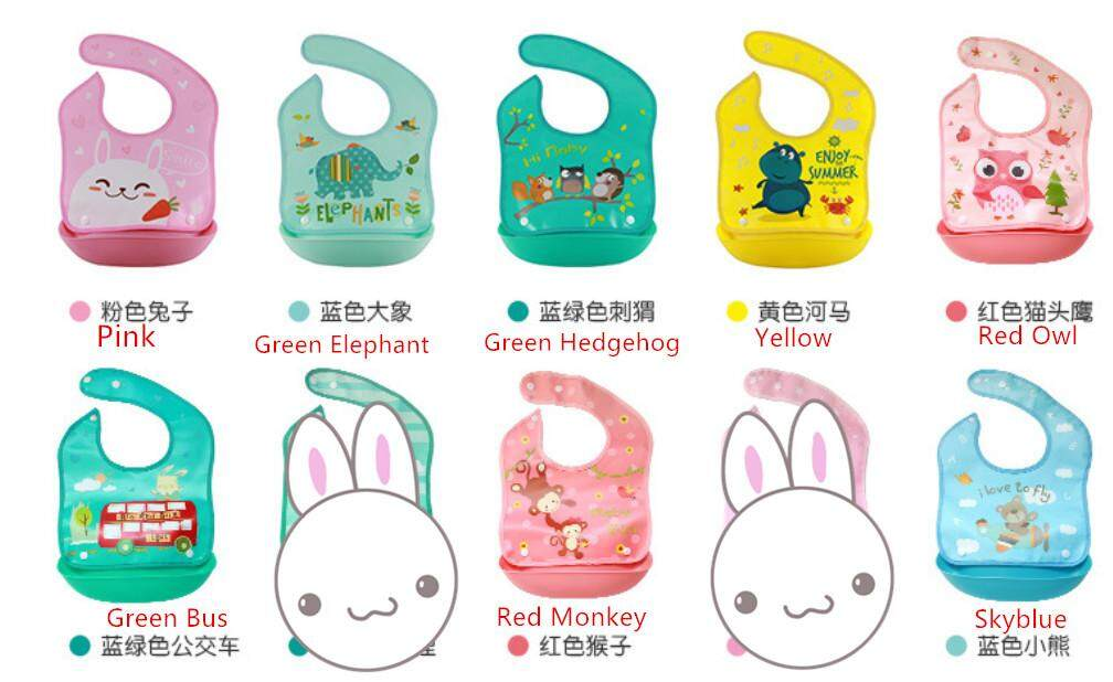 Unisex Baby Bibs Cartoon Apron Waterproof Silicone Detachable Burp Cloth feeding