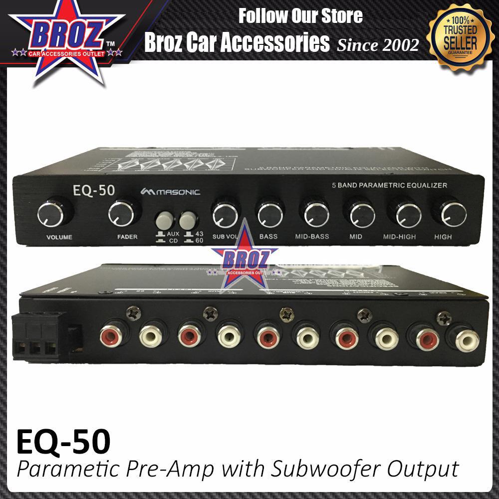 Broz Masonics EQ-50 Parametric Pre-Amp with Subwoofer Output Karaoke 4 Band Car Audio