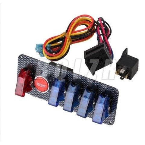 DIY Tools - 12V Racing Car Ignition Switch + 4 Blue & 1 Red LED Toggle Button Panel - Home Improvement