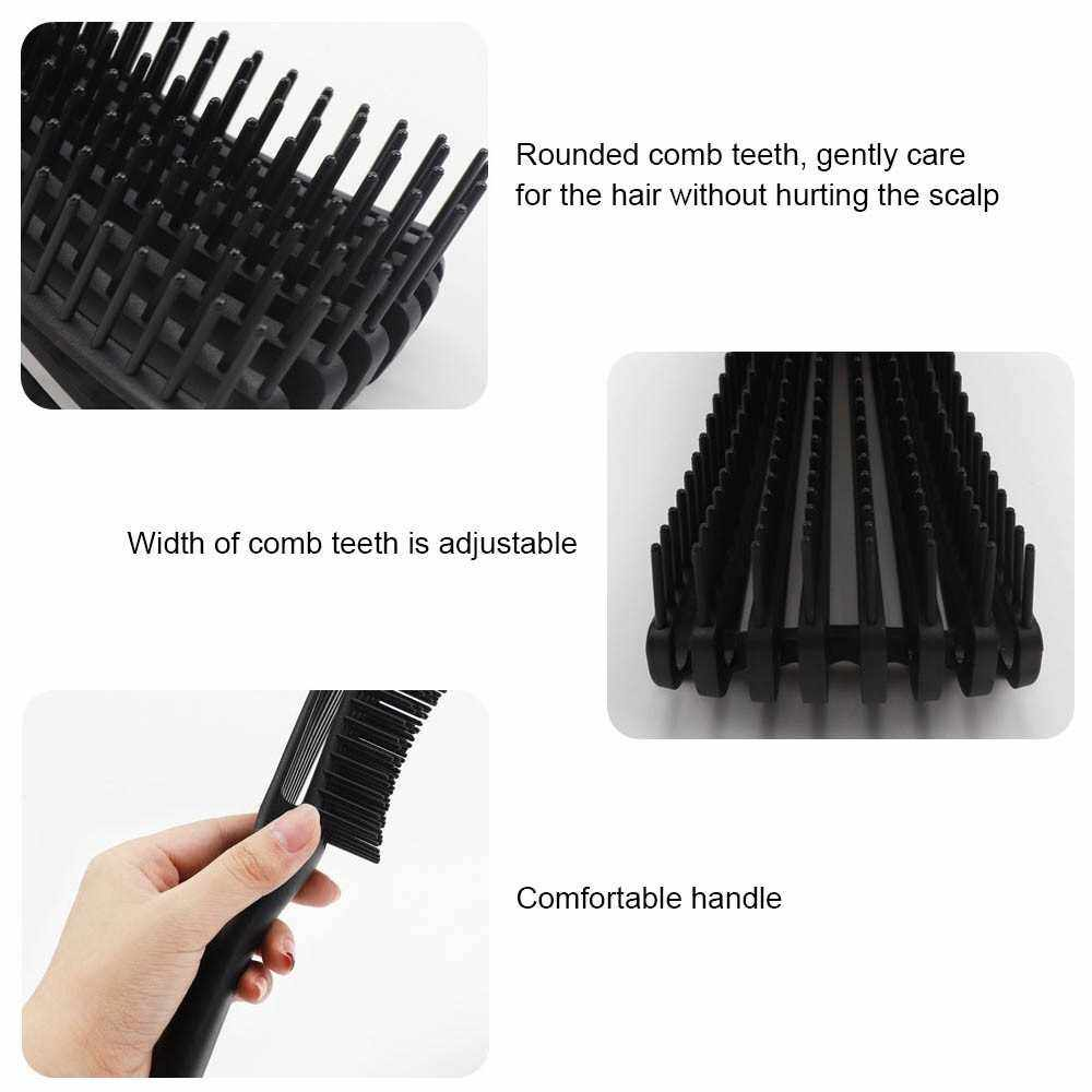 7 Pieces Detangling Brush Set Eight-Claw Comb Scalp Massage Brush Big Curved Oil Head Shape Pointed Tail Wide Tooth Comb Set for Wet/Dry/Long Thick Curly Hair (Black)