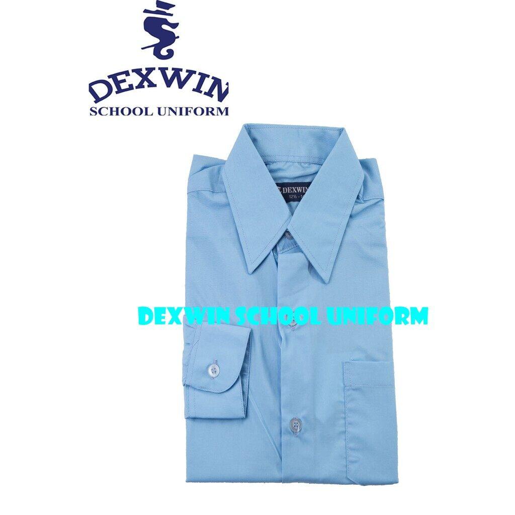 kemeja warna biru pengawas sekolah shirt lengan panjang cotton