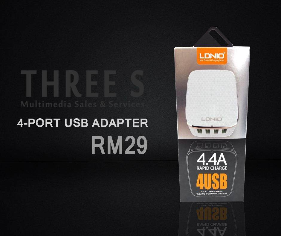Ready Stock- LDNIO A4404 4.4A Rapid Charge 4USB Output Port Fast Charger