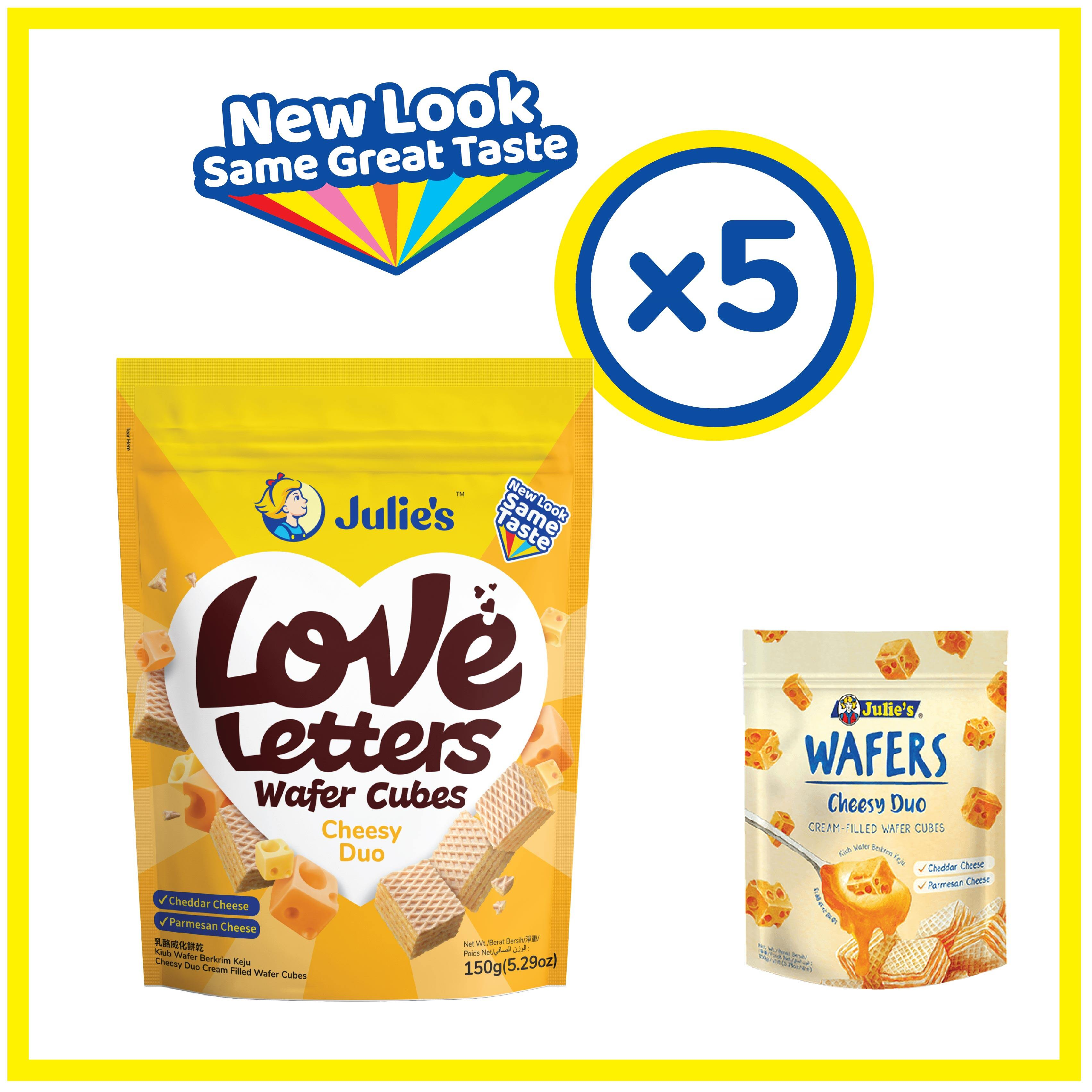 Julie's Love Letters Wafers Cheesy Duo 150g x 5 pack