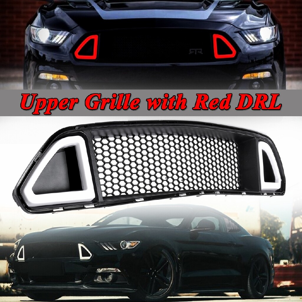 Automotive Tools & Equipment - Front Bumper Hood Grill Grille DRL LED Red Light Insert For 2015-17 Ford Mustang - Car Replacement Parts