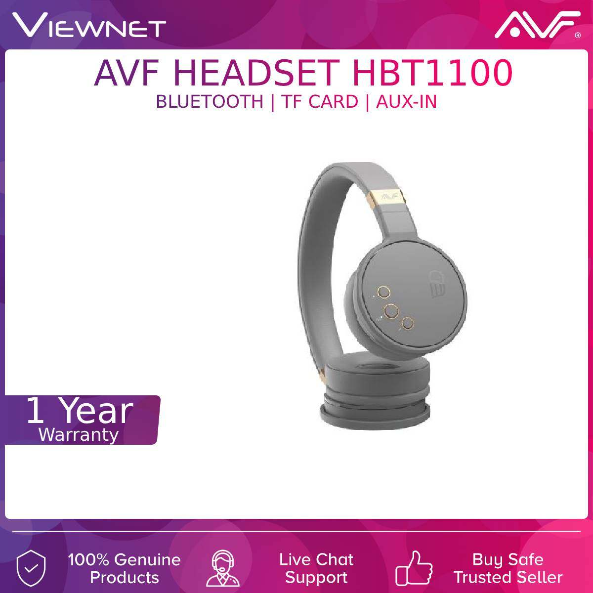 AVF Wireless Headsets HBT1100 with Deep Bass, Bluetooth, AUX-In Mode, TF Card Mode, FM Radio Mode, 4 Hours Battery Life