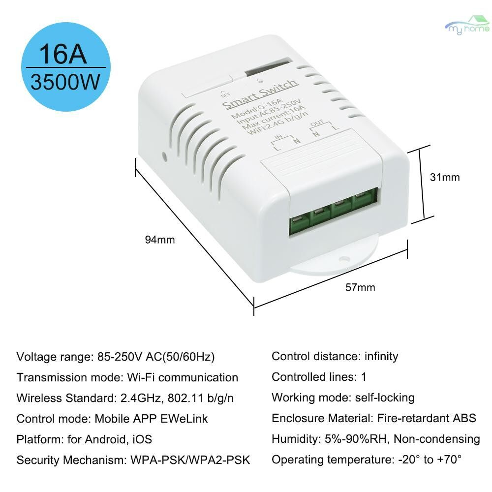 DIY Tools - Smart Wifi Switch 16A/3500W WIRELESS Remote Switch Timer for Android/IOS APP Control - WHITE