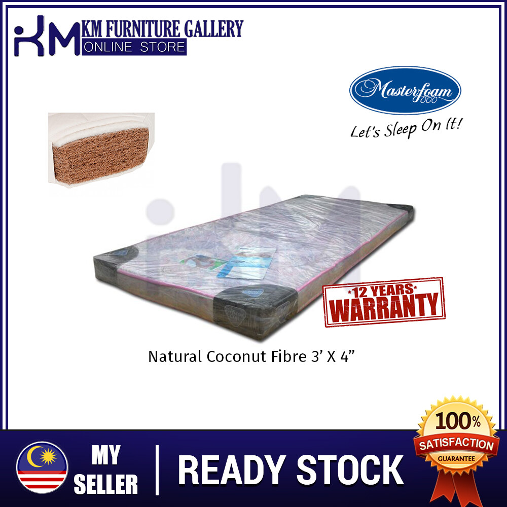 KM Furniture Gallery Mastercoil Single 3'X4  Natural Coconut Fibre Mattress/ Tilam Bujang Fibre KMMF3FD3X4