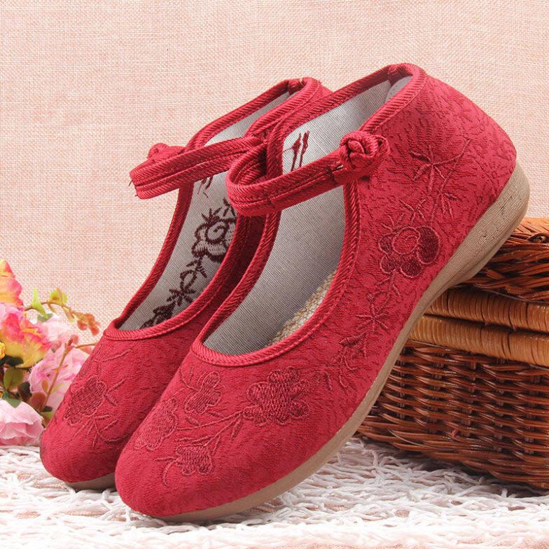 Giày dép cao tuổi cho nữ già già cao tuổi cao tuổi, đôi giày dài chống trượt, cũ Bắc Kinh giày cao gót nữ giày cao gót bị thêu dệt may bởi 228105536)}33201; uytyggjh giá rẻ
