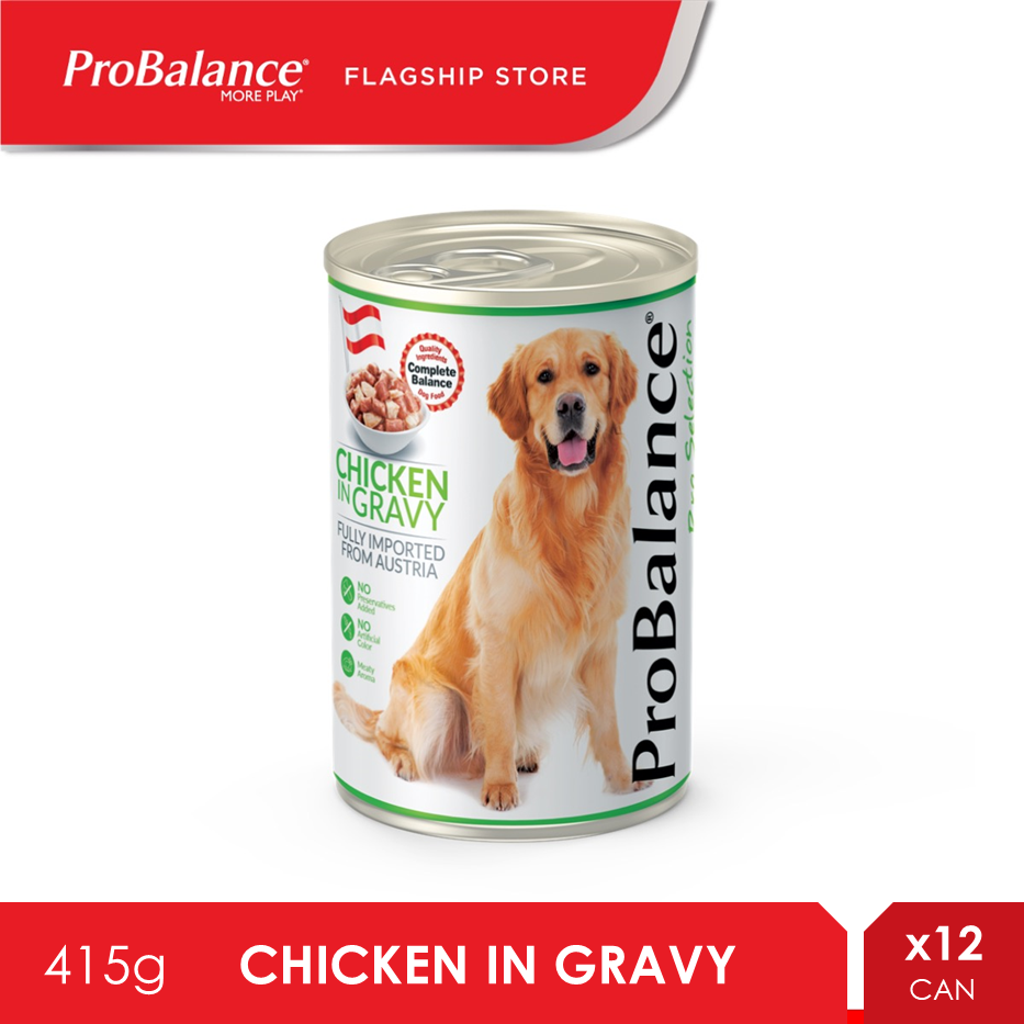 ProBalance 415G Chicken In Gravy Wet Dog Food X 12 Cans [makanan anjing]