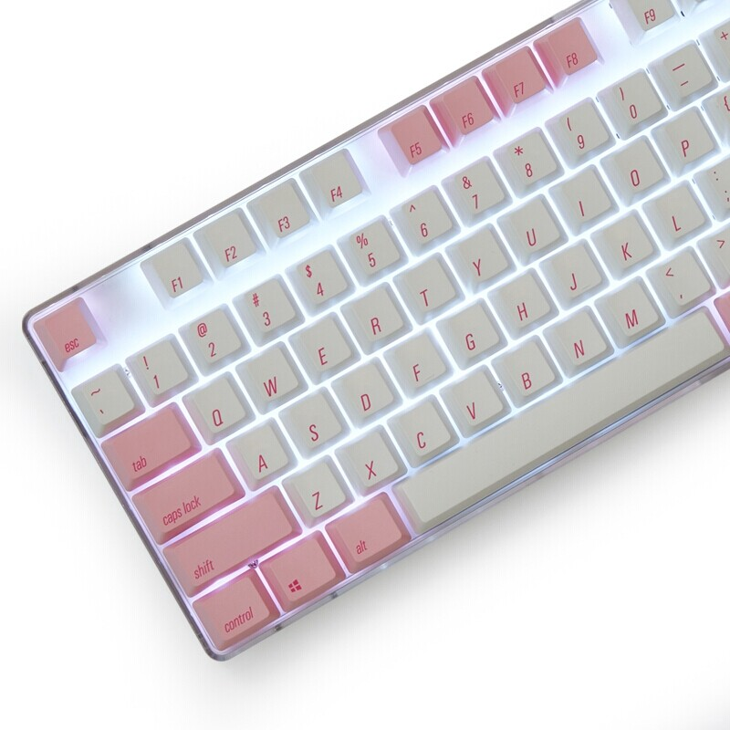 Keyboards - Magicforce 108 Key Pink White Color Dye-sub PBT Keycaps Keycap SET for Mechanical Keyboard - Computer Accessories