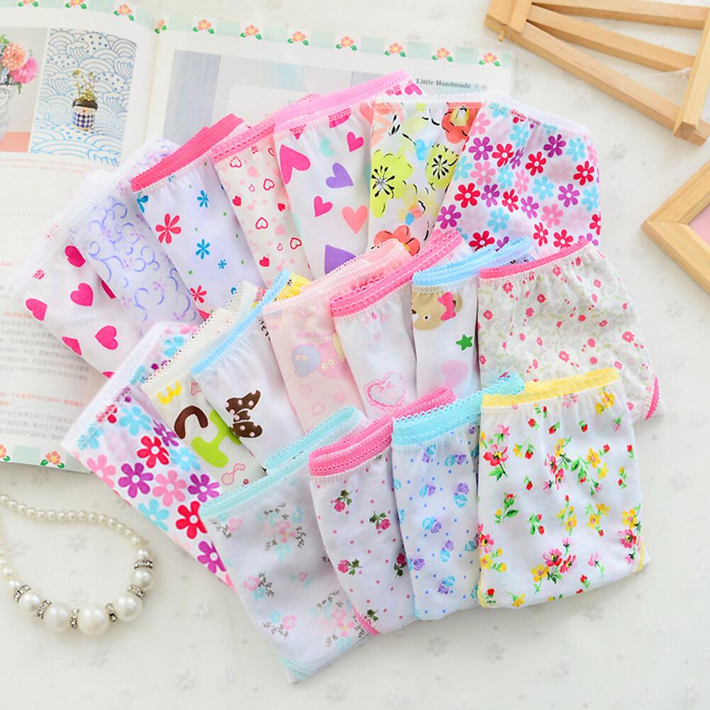 12PCS/Set Children Girls Underpants Cotton Briefs Cute Cartoon Underwear Panties