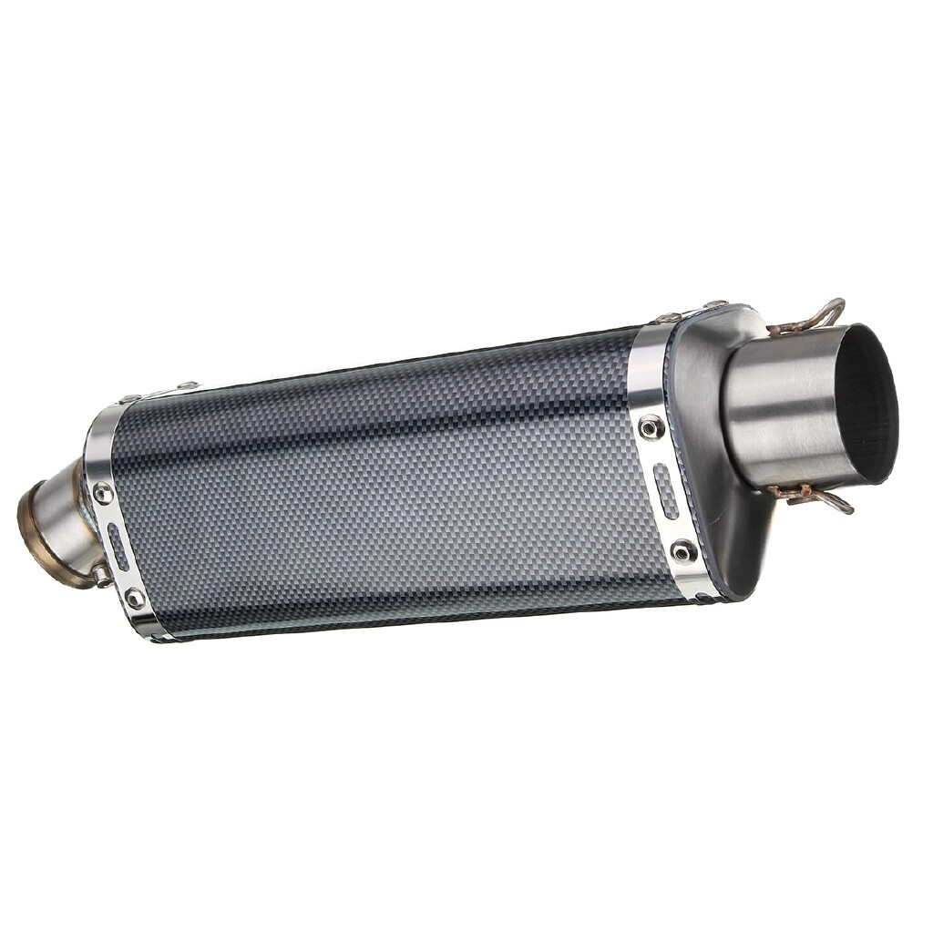 Moto Accessories - 38-51mm Universal Motorcycle Exhaust Muffler Pipe Removable Silencer Street Bike - CARBON FIBER / MATTE RED / MATTE WHITE / MATTE BLACK / MATTE BLUE / CHROME TITANIUM / CHROME RED / CHROME WHITE / CHROME BLACK / CHROME BLUE / CHROM