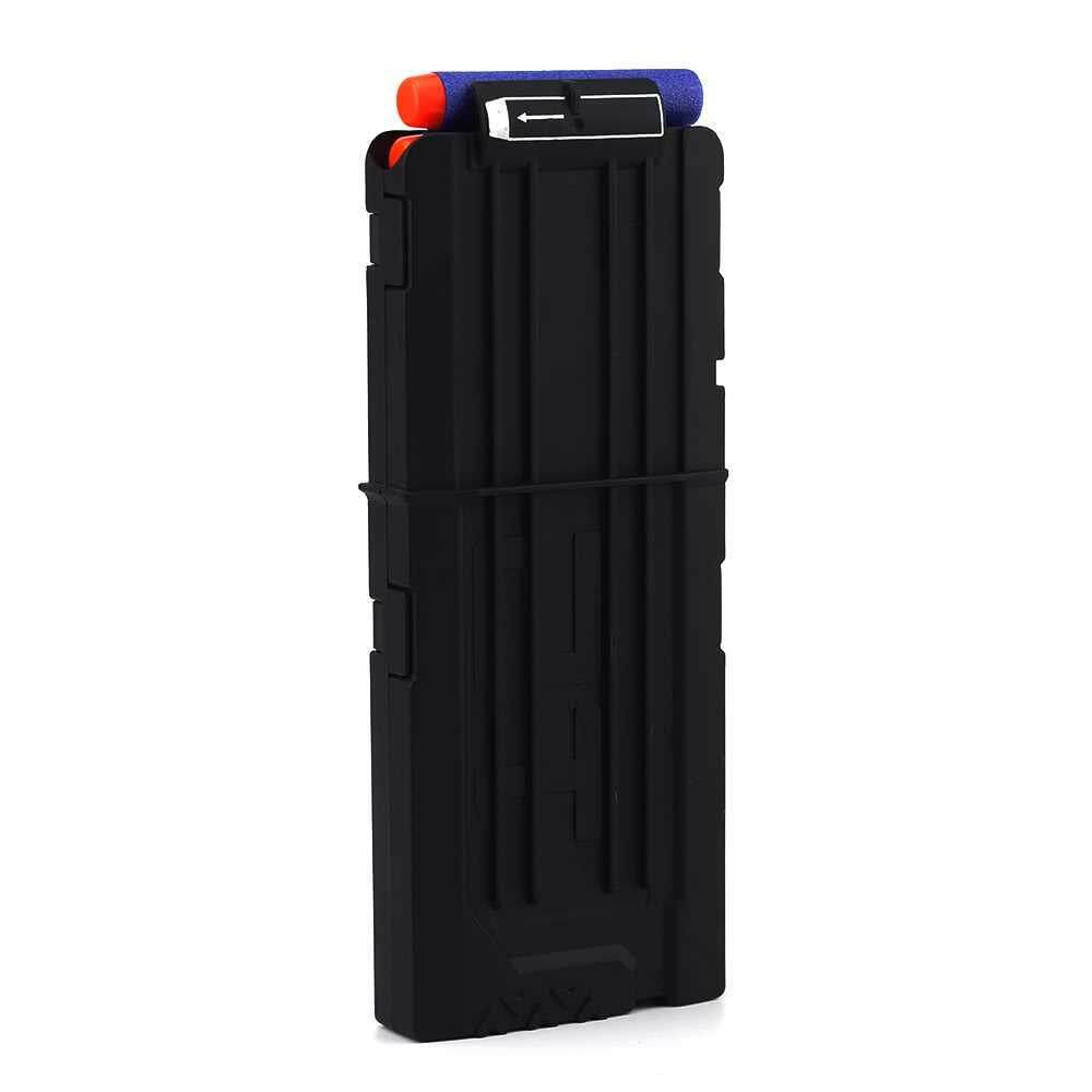 12 Quick Reload Clip Magazines Round Darts Replacement Plastic Toy Gun Carrier Soft Bullet Trasparent Storage Clips for Nerf N-Strike Cartridge (black) Toys for boys