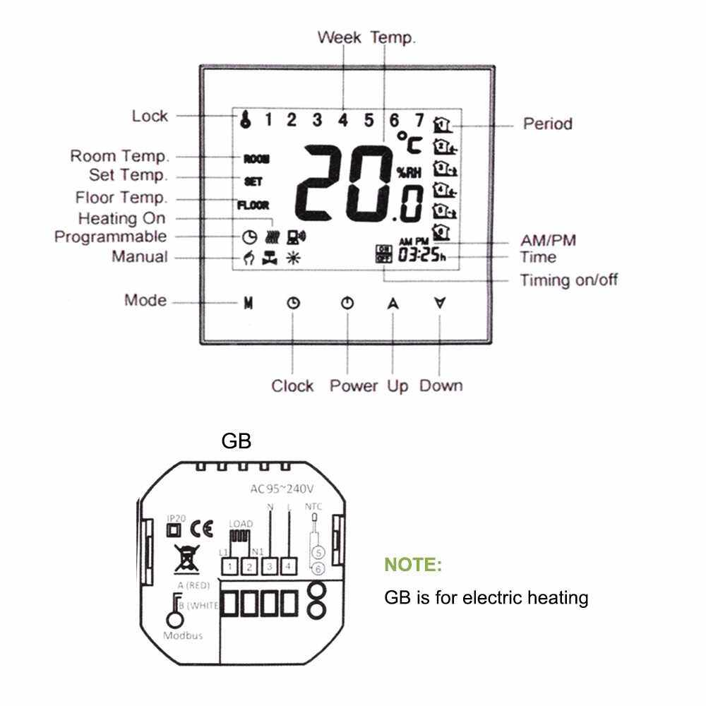 KKmoon Digital Underfloor Heating Thermostat for Electric Heating System Floor & Air Sensor with WiFi Connection & Voice Control Energy Saving AC 95-240V 16A Touchscreen LCD Display Room Temperature Controller Works with Amazon Alexa/Google Home/