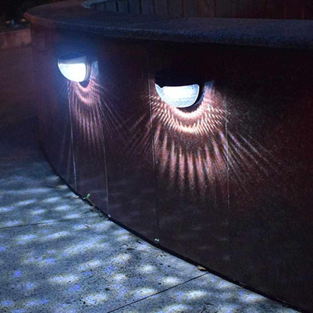 2pcs Solar Fence Light 6led Semi-circular Table Step Light Garden Wall Light (Black)