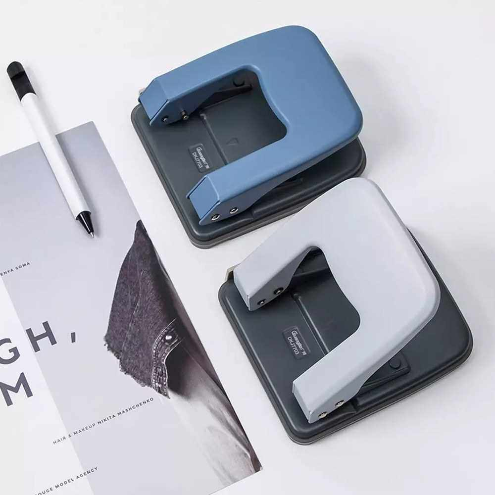 Xiaomi Youpin Guangbo Mini Double Hole Puncher Portable Metal High Quality School Office Stationery 32-sheet Aperture 6mm (Grey)