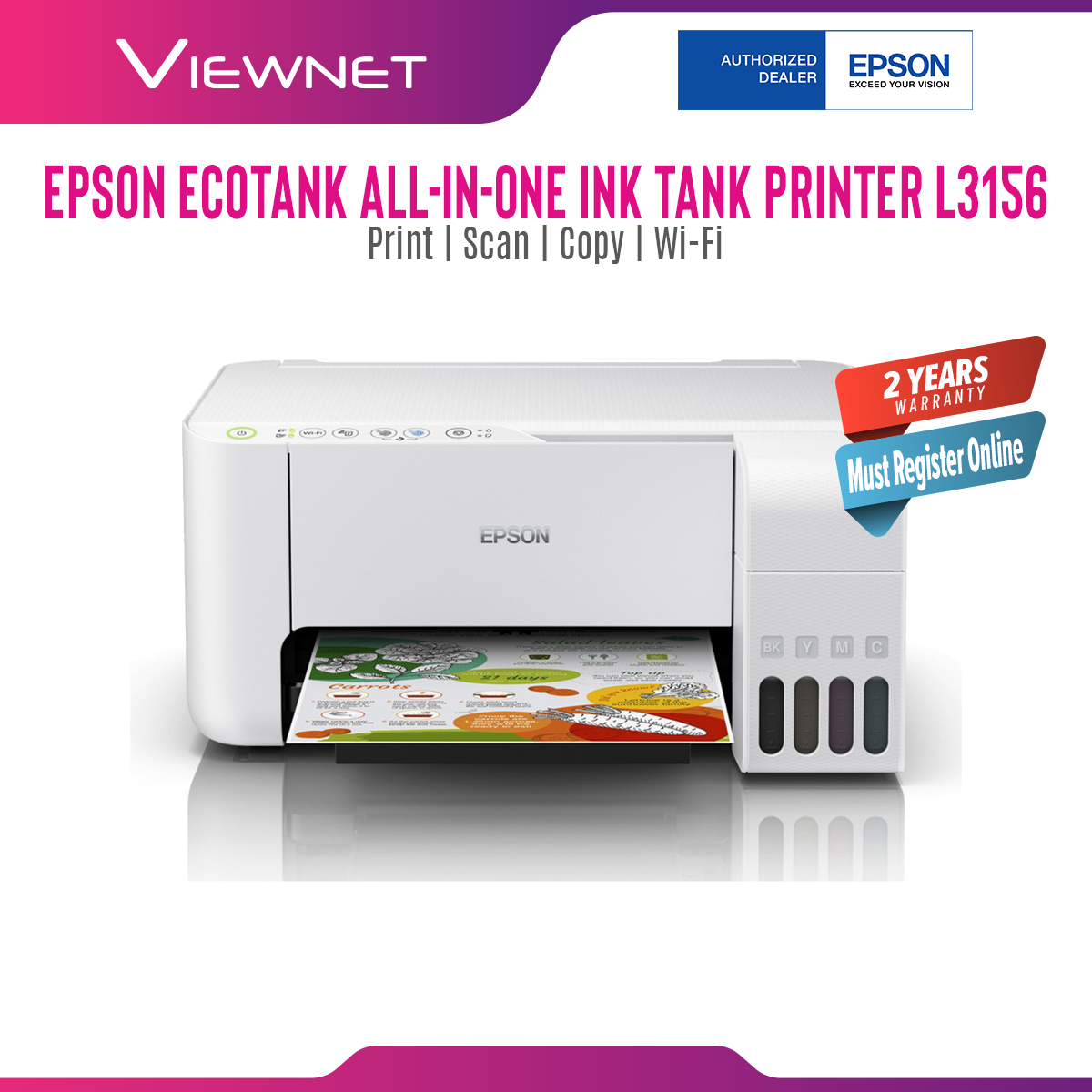 Epson EcoTank L3156 All-In-One Ink Tank Colour (Print/Scan/Copy/Wi-Fi) Printer