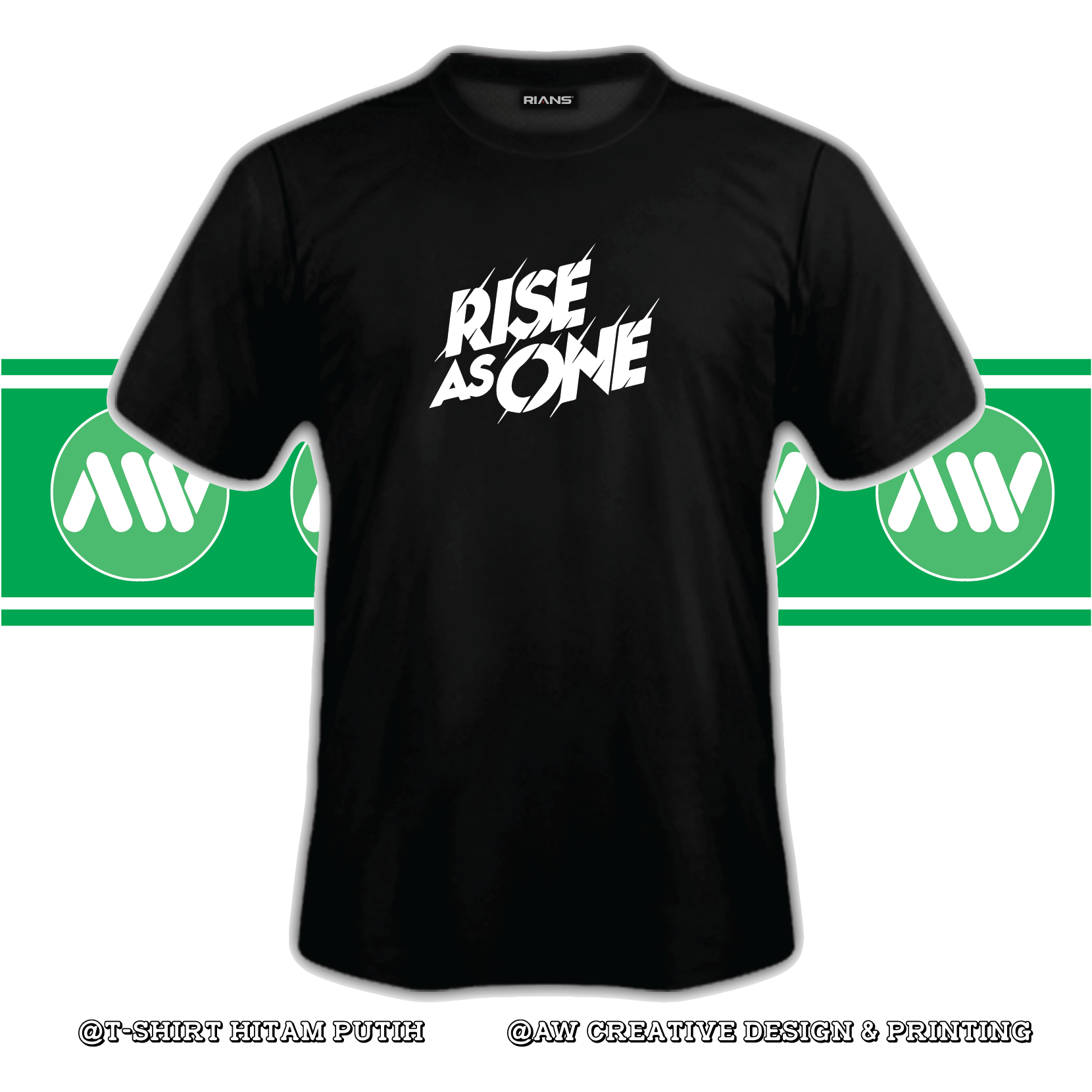 T-Shirt Rise As One 100% Cotton Baju Tshirt Black White Hitam Putih Bossku