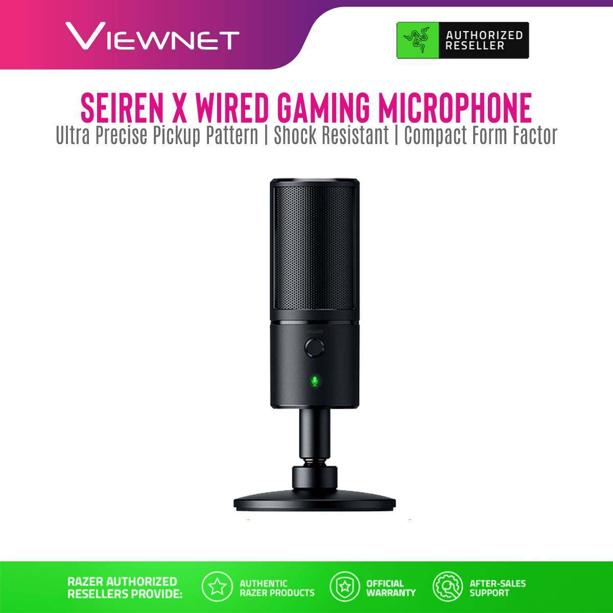 Razer Gaming Microphone Seiren X (Classic Black / Quartz Pink / Mercury White) with Mute Button, Shock Resistant, Ultra-Precise Pickup Pattern