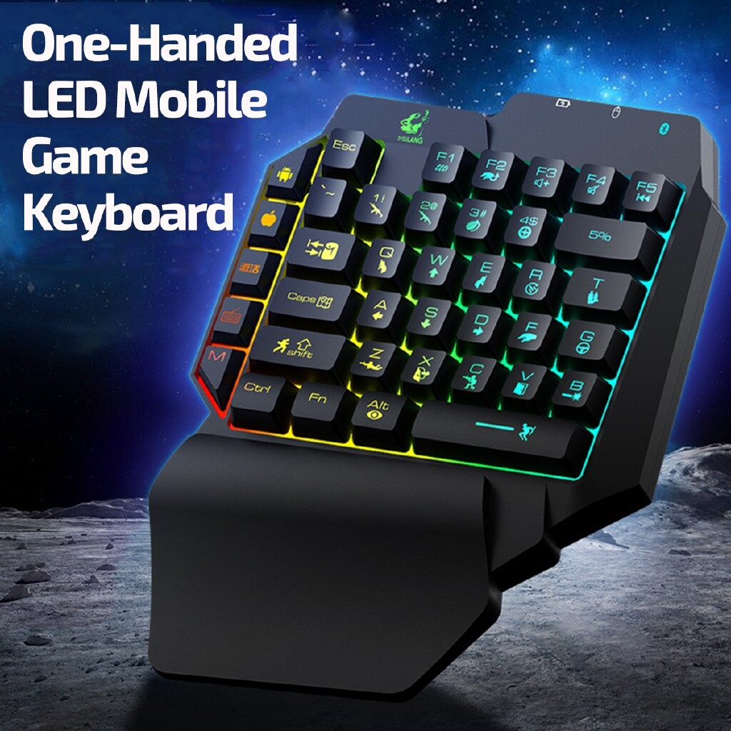 Keyboards - 39Keys BLUETOOTH One-Handed Keyboard RGB Gaming LED Converter For Phone Laptop - Computer Accessories