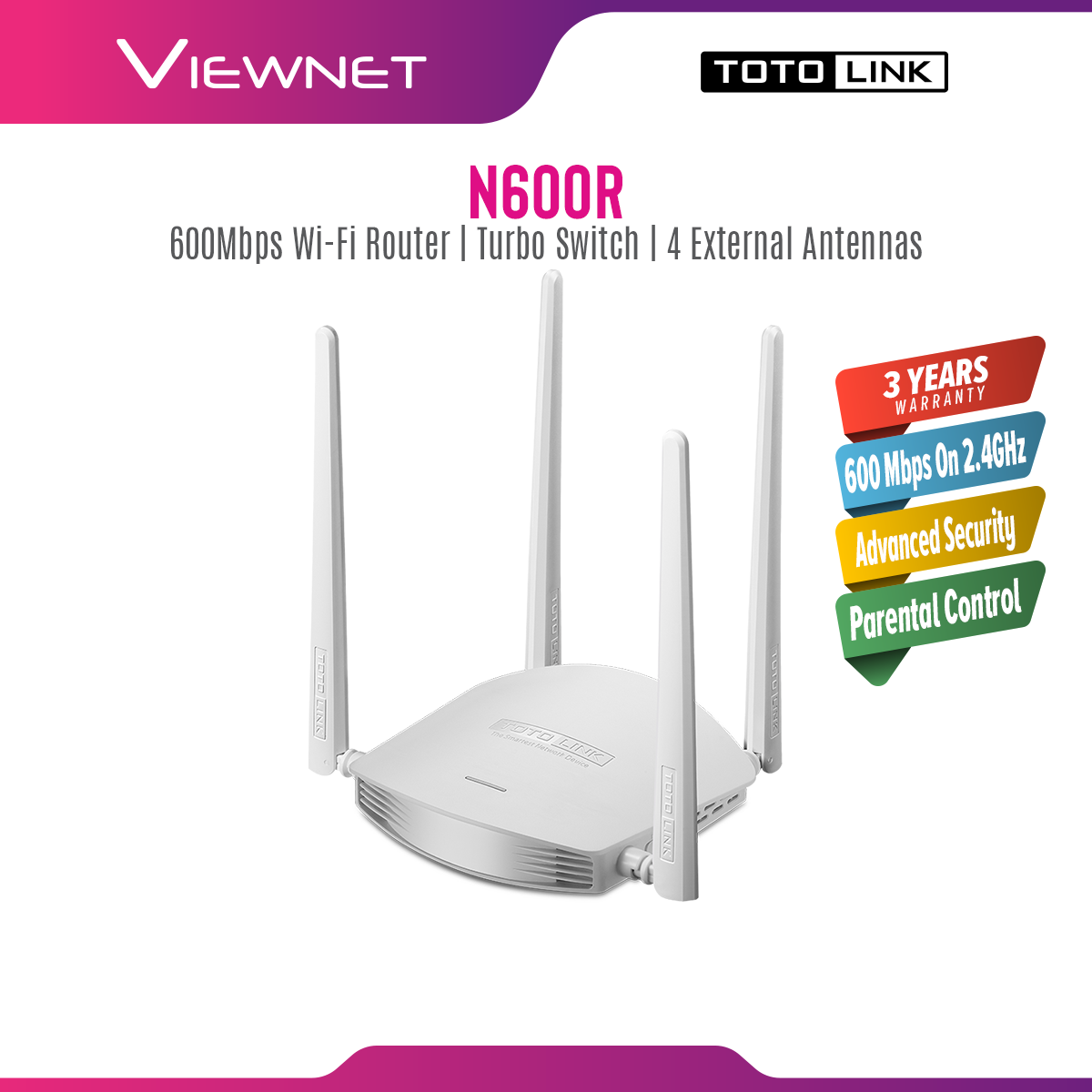 Totolink N600R Turbo WiFi 600mbps Wireless N MIMO Router For Unifi/Maxis