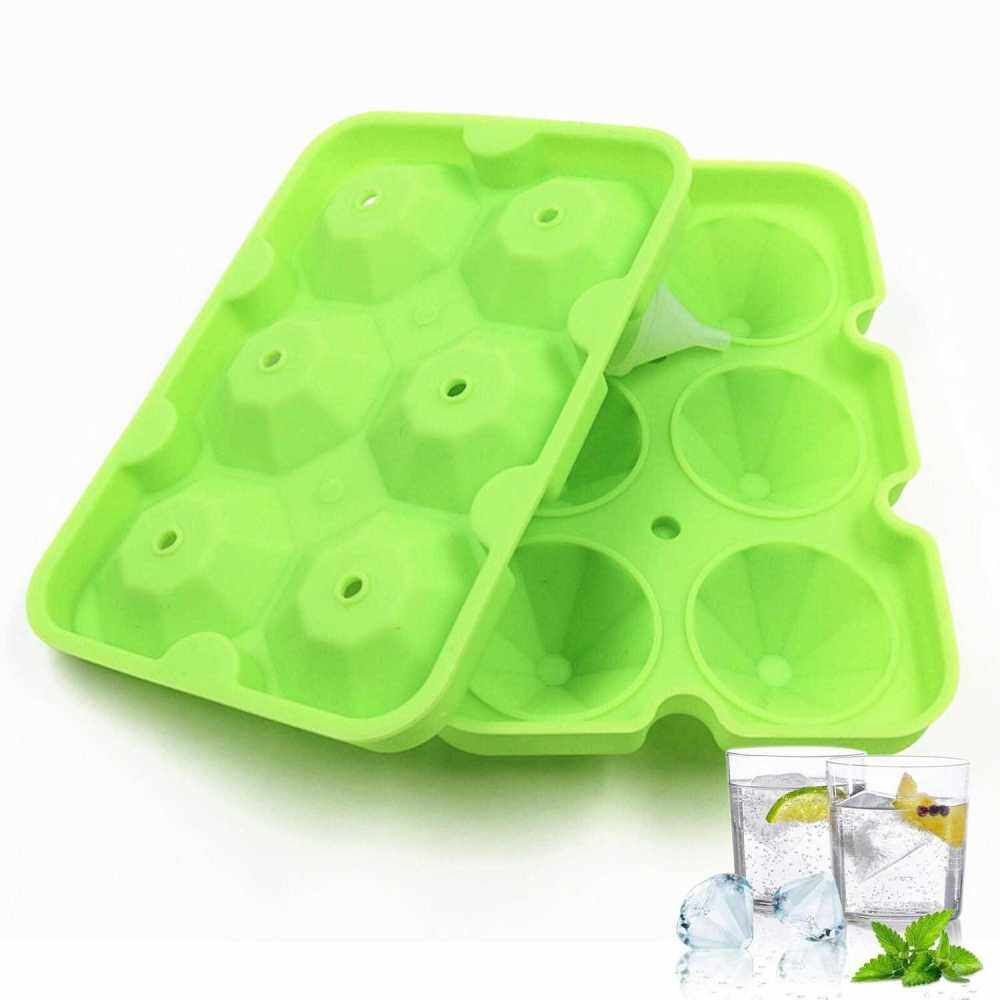 Ice Cube Trays Release Silicone Diamond Shaped 6 Grids Ice Trays with Spill-Resistant Removable Lid Stackable DIY Home Ice Cube Molds with Small Funnel for Chilled Drinks (Green)