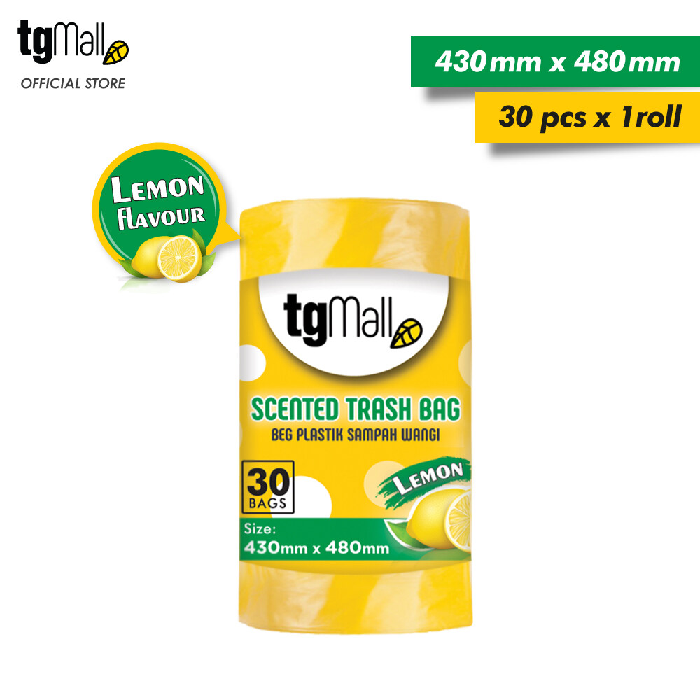 TG Mall HDPE Yellow Garbage Bags Trash Bags with Lemon Scent - Small (43cm x 48cm x 30pcs)