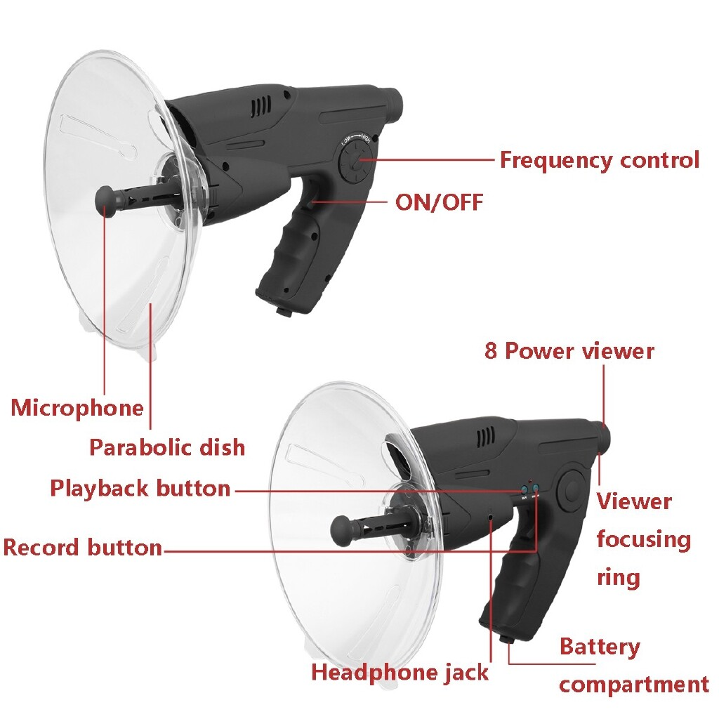 Microphones - Parabolic Microphone Monocular X8 Bionic Ear Long Range Birds Listening 200M - Audio