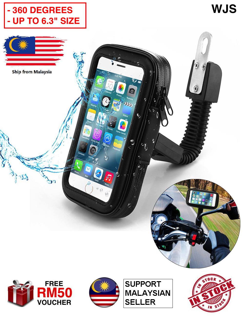 (LARGE SIZE UP TO 6.3) WJS 360 Degrees Bike Mount Universal Case Motorcycle Mount Handlebar Holder Bag Waterproof Phone Case Sand Dirt Resistant with Access Hole and Card Slots Motorcycle Mirror Phone Holder Rotatable FULL BLACK RED [FREE RM 50 VOUCHER]