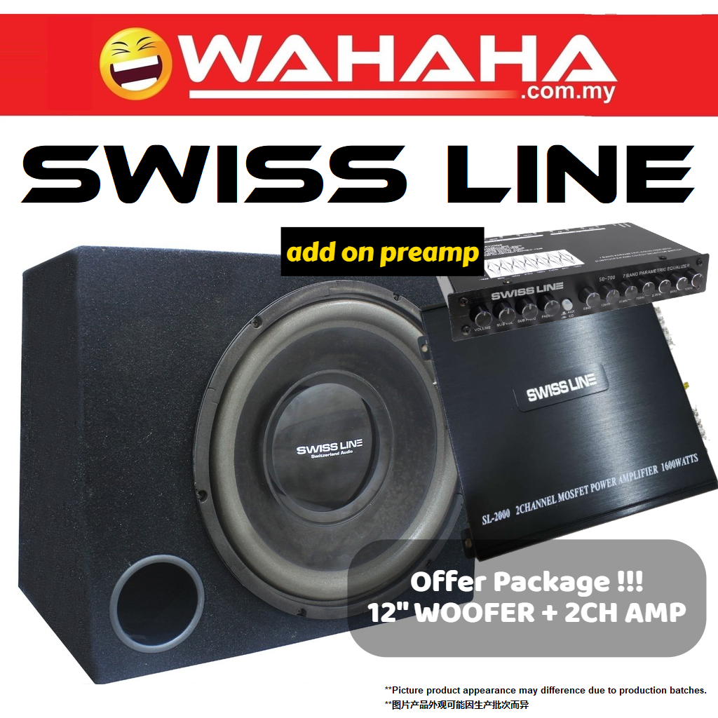 SWISS LINE PACKAGE 2 CHANNEL CAR POWER AMP + SWISS LINE 12S4B 12'' HI-POWER SUBWOOFER CAR WOOFER BOX add on PREAMP