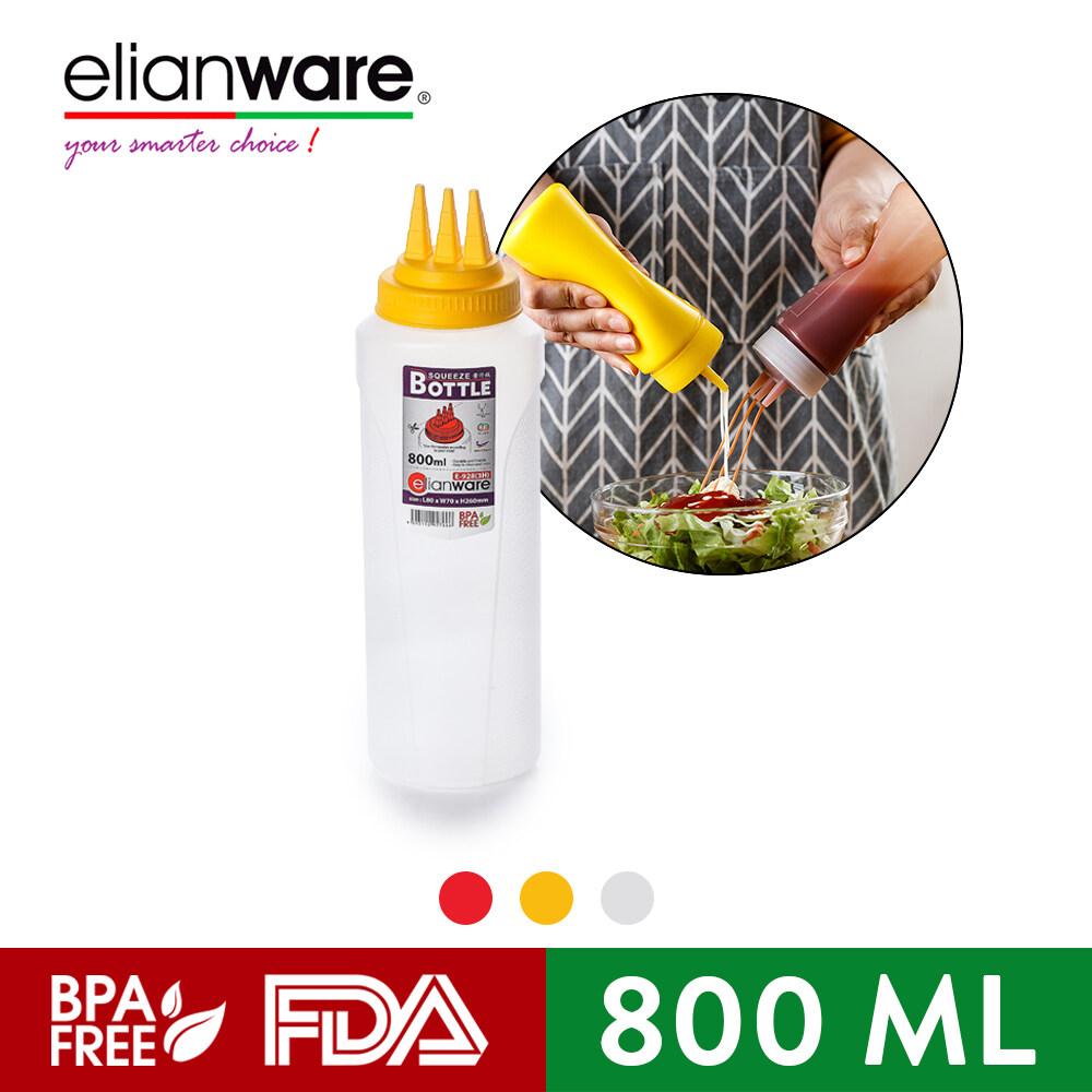 Elianware 3 Hole Kitchen Restaurant Condiment Dispenser Sauce Squeeze Bottle (800ml)