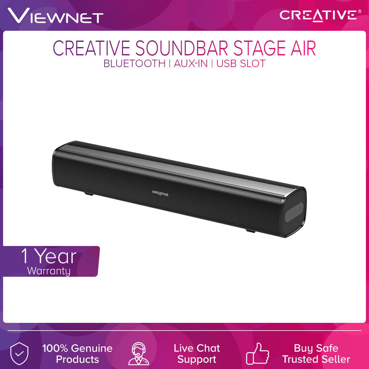 Creative Soundbar Stage Air with Bluetooth Connection, Compact Size, Aux-In Support, USB Slot, Up To 6 Hours Play Time
