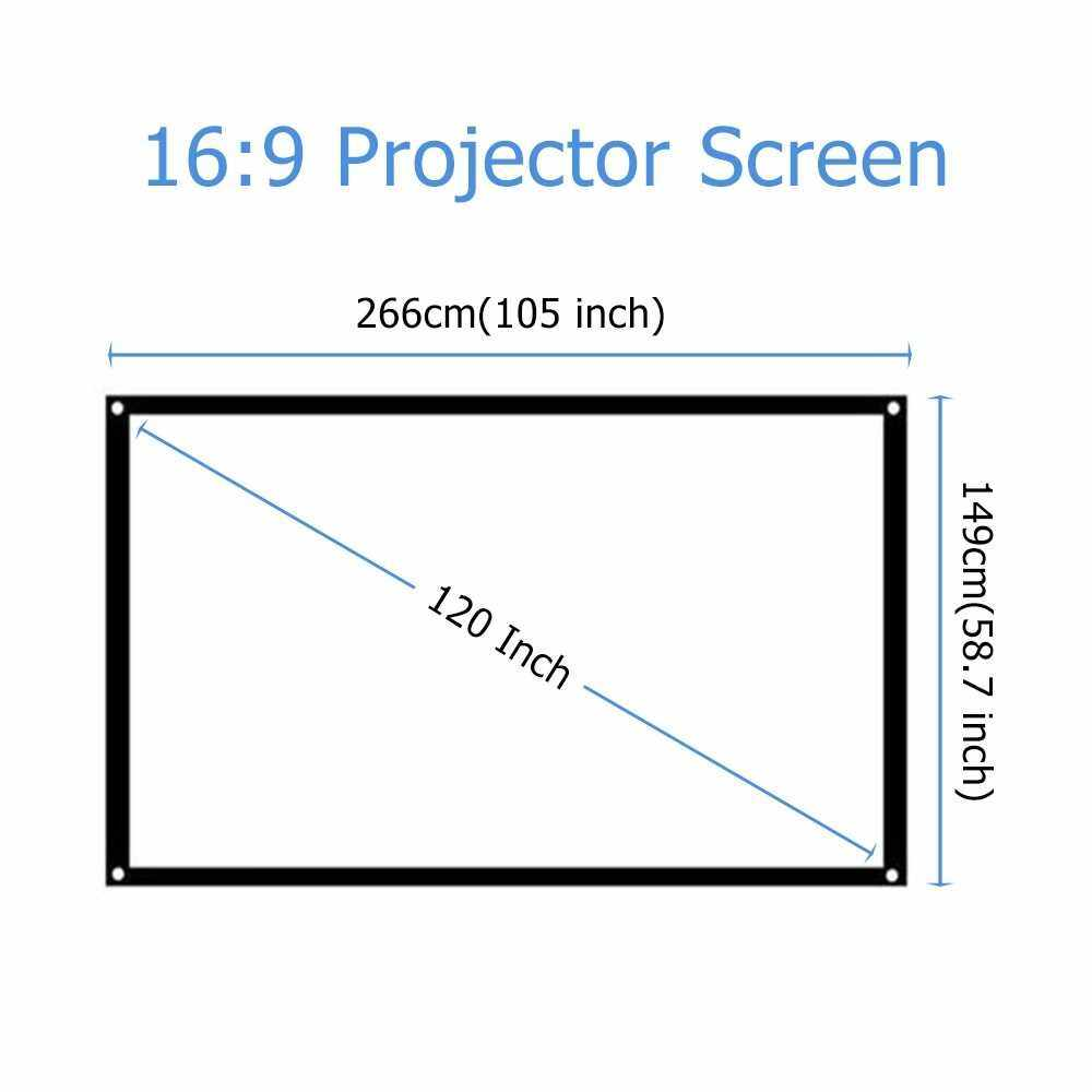 120 Inch Projector Screen 4:3 HD Foldable Portable Projection Screen Anti-Crease Rear Front Projection Movies Screen for Home Theater Outdoor Indoor Movies (Standard)