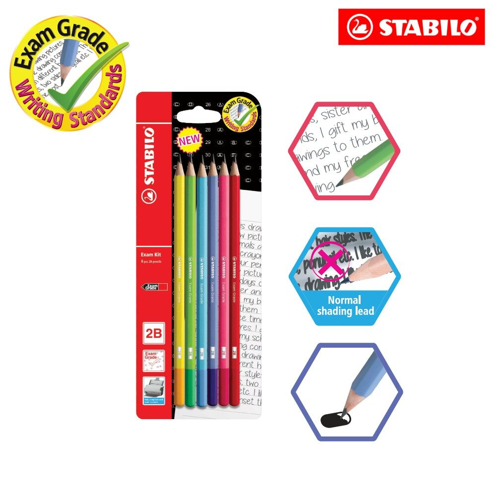 Stabilo Official - Stabilo Exam Grade 2B Writing Pencil (Blister Pack of 6 pencils)