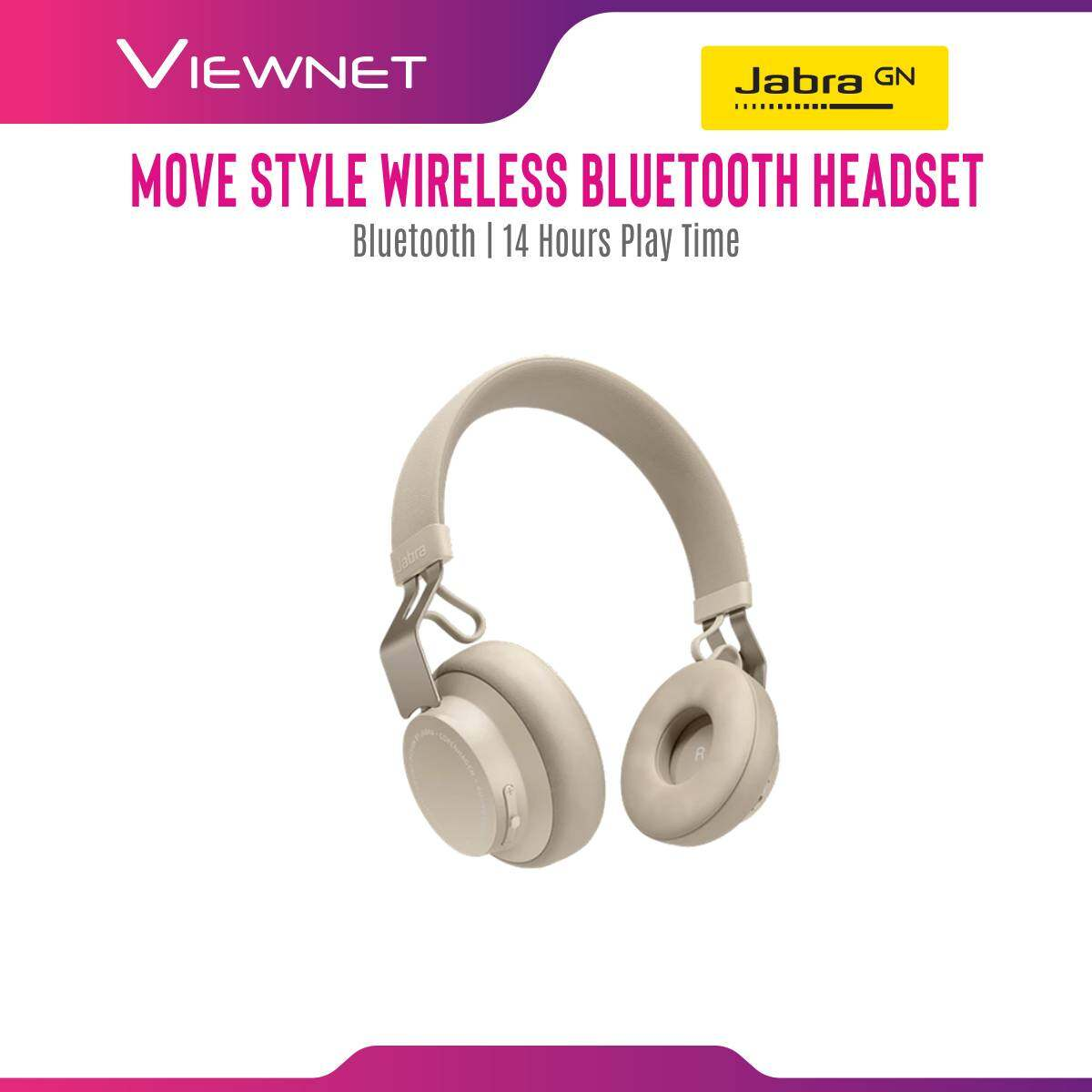 Jabra Wireless Headset Move Style with Bluetooth 4.0 Connection, 14 Hours Play Time, 40MM Dynamic Driver
