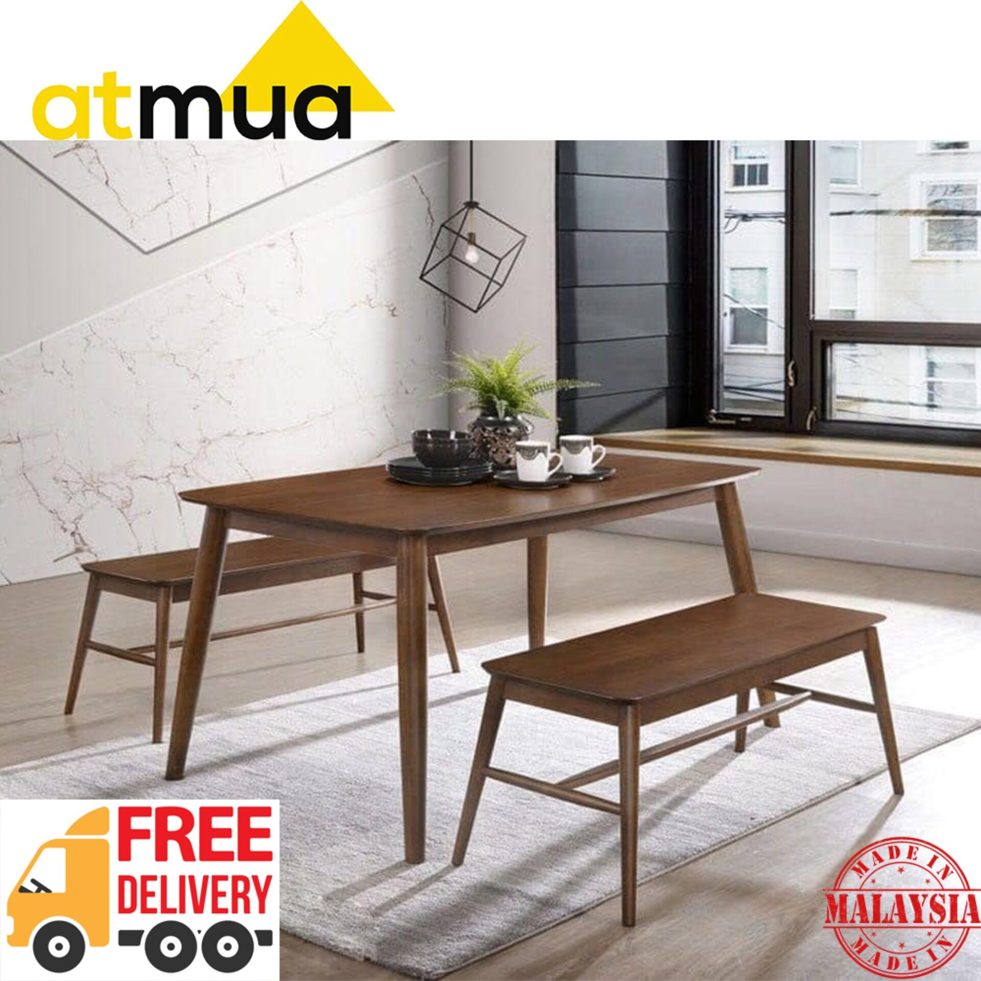Atmua Gordon Dining Set (1 Table + 2 Bench Chair) [Full Solid Rubber Wood]