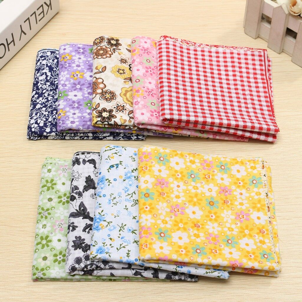 Curtains & Blinds - 7 PIECE(s) Assorted Pattern Floral Cotton Fabric Cloth For DIY Crafts Sewing_3C - BROWN / BLUE / NAVY / RED / GREEN / PINK / PURPLE / YELLOW / BLACK