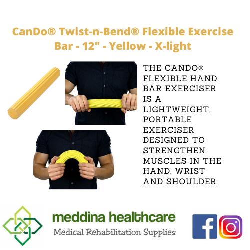 """(CANDO BRAND) Flexible Exercise Bar - 12"""" - Yellow - X-light"""